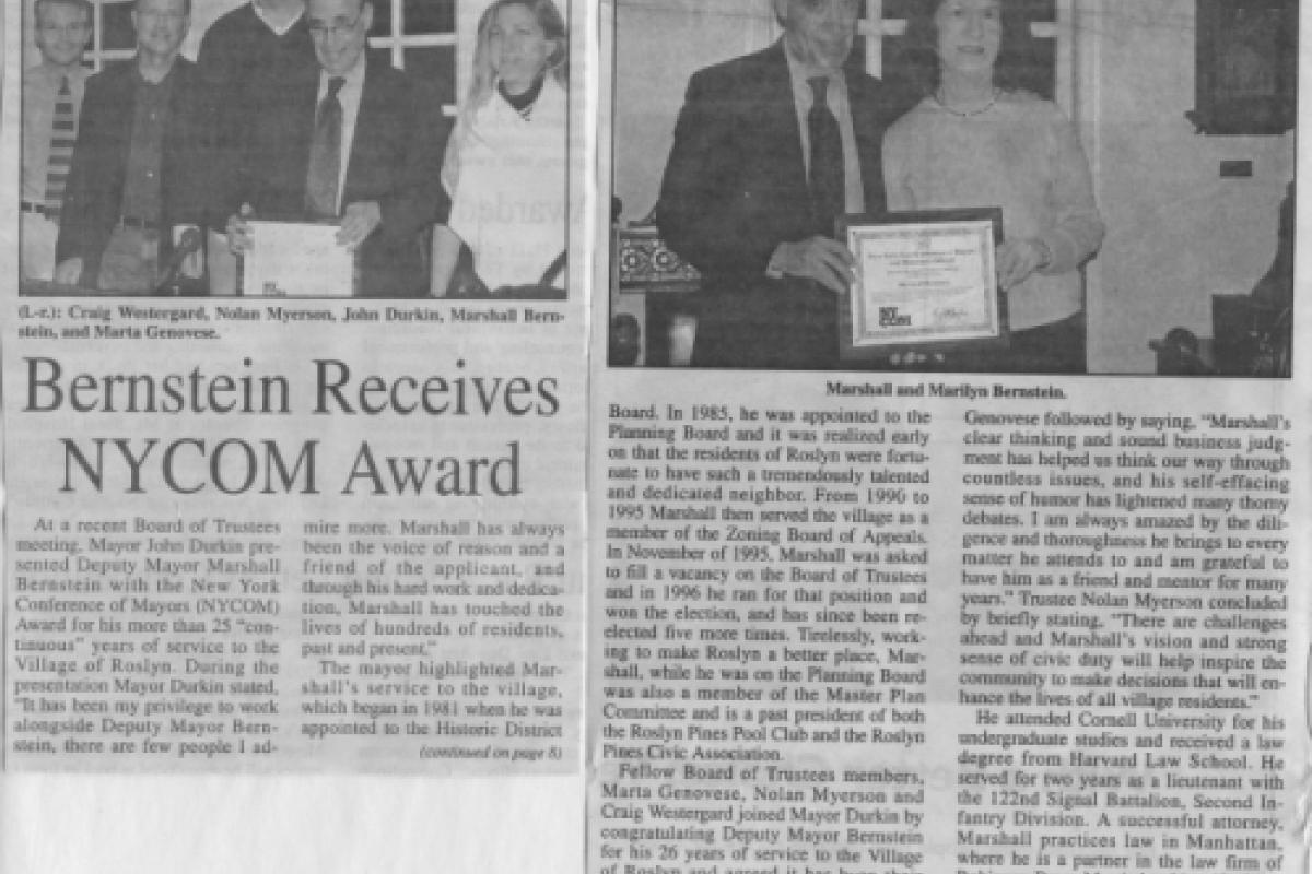 Bernstein Receives NYCOM Award